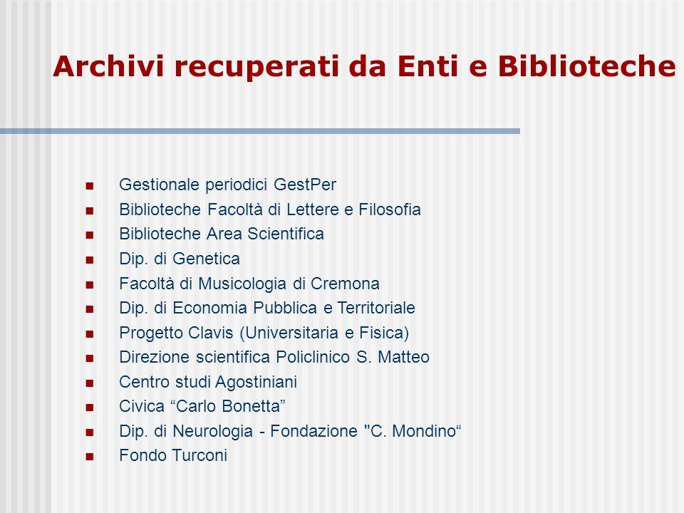 Archivi recuperati da Enti e Biblioteche Gestionale periodici GestPer Biblioteche Facoltà di Lettere e Filosofia Biblioteche Area Scientifica Dip.