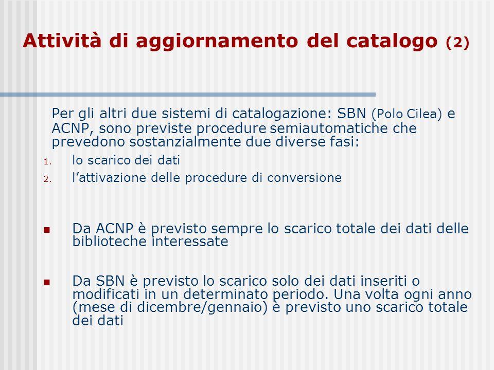 Per gli altri due sistemi di catalogazione: SBN (Polo Cilea) e ACNP, sono previste procedure semiautomatiche che prevedono sostanzialmente due diverse fasi: 1.