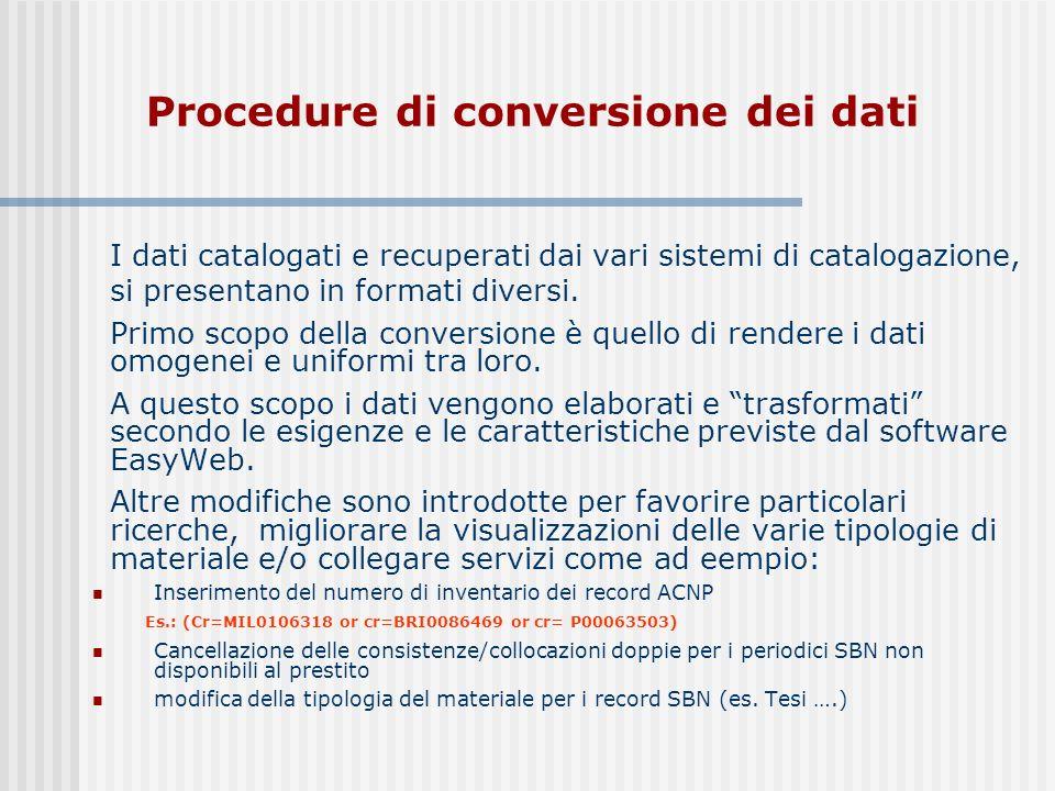 I dati catalogati e recuperati dai vari sistemi di catalogazione, si presentano in formati diversi.