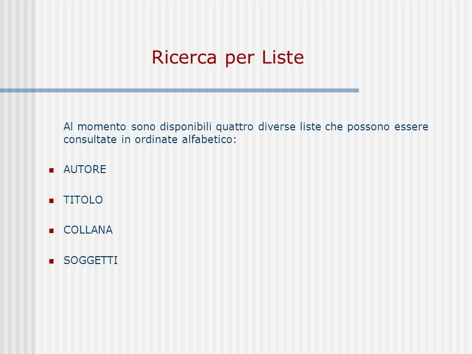 Ricerca per Liste Al momento sono disponibili quattro diverse liste che possono essere consultate in ordinate alfabetico: AUTORE TITOLO COLLANA SOGGETTI