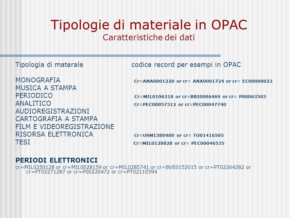 Tipologie di materiale in OPAC Caratteristiche dei dati Tipologia di materalecodice record per esempi in OPAC MONOGRAFIA Cr=ANA0001220 or cr= ANA0001724 or cr= EC00000023 MUSICA A STAMPA PERIODICO Cr=MIL0106318 or cr=BRI0086469 or cr= P00063503 ANALITICO Cr=PEC00057312 or cr=PEC00047740 AUDIOREGISTRAZIONI CARTOGRAFIA A STAMPA FILM E VIDEOREGISTRAZIONE RISORSA ELETTRONICA Cr=USM1380480 or cr= TO01416505 TESI Cr=MIL0128828 or cr= PEC00046535 PERIODI ELETTRONICI cr=MIL0250128 or cr=MIL0028159 or cr=MIL0285741 or cr=BVE0152015 or cr=PT02264282 or cr=PT02271287 or cr=P00220472 or cr=PT02110594