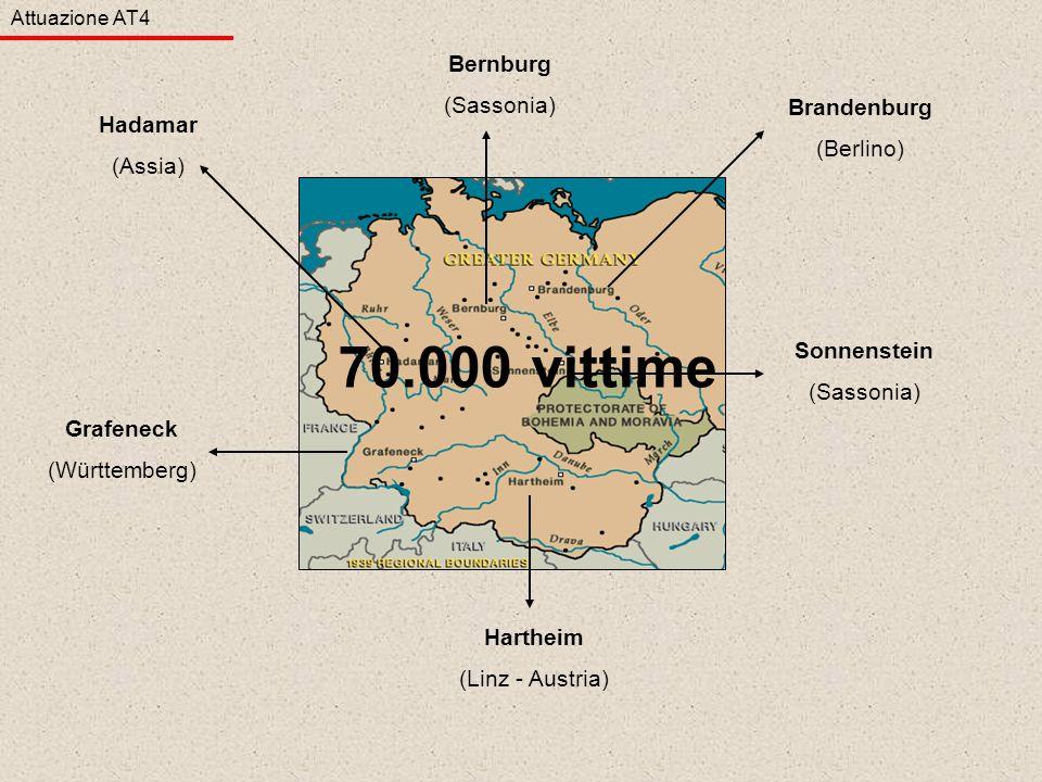 Brandenburg (Berlino) Sonnenstein (Sassonia) Hartheim (Linz - Austria) Grafeneck (Württemberg) Bernburg (Sassonia) Hadamar (Assia) Attuazione AT4 70.0