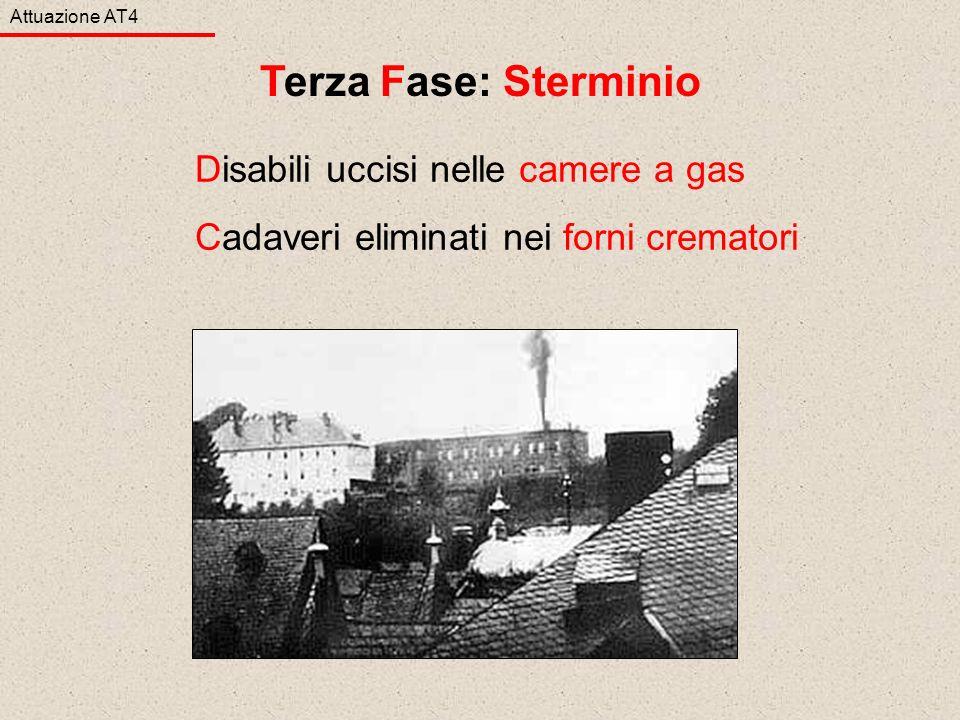 Disabili uccisi nelle camere a gas Cadaveri eliminati nei forni crematori Attuazione AT4 Terza Fase: Sterminio