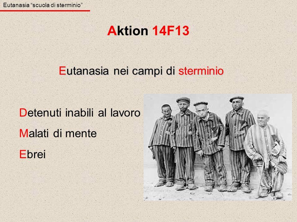 Detenuti inabili al lavoro Malati di mente Ebrei Eutanasia nei campi di sterminio Aktion 14F13 Eutanasia scuola di sterminio