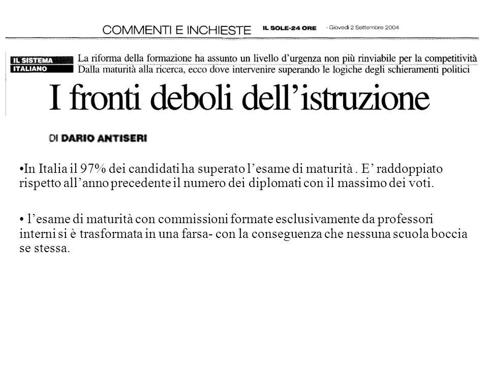 In Italia il 97% dei candidati ha superato lesame di maturità. E raddoppiato rispetto allanno precedente il numero dei diplomati con il massimo dei vo