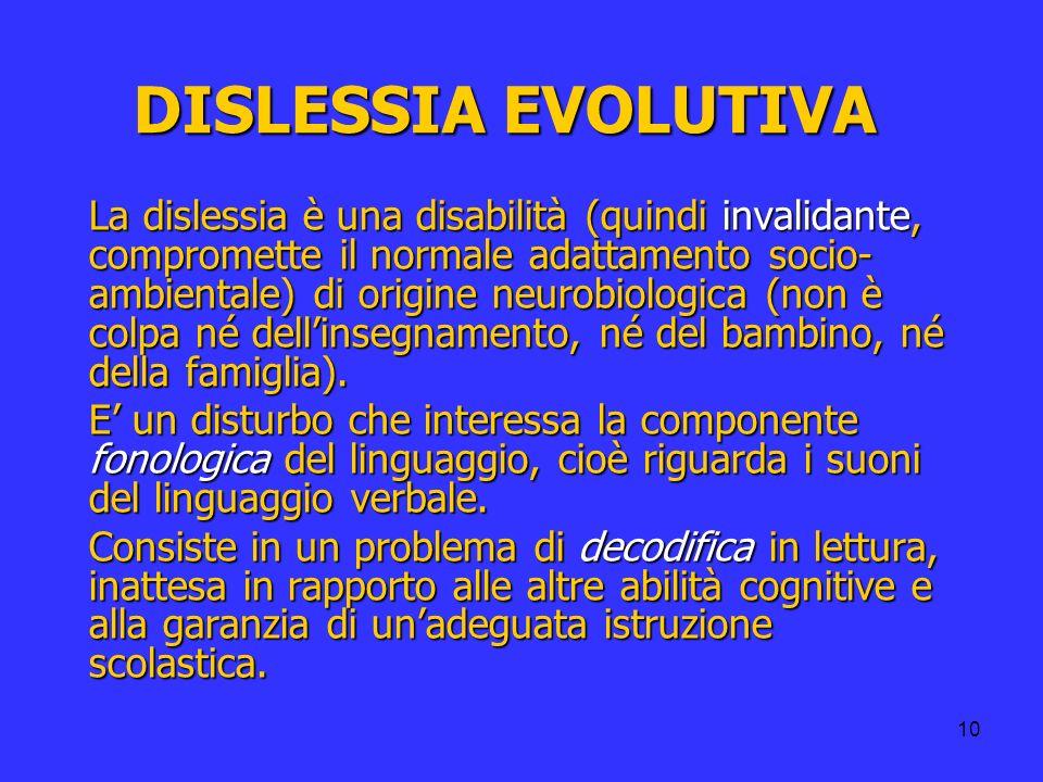 10 DISLESSIA EVOLUTIVA La dislessia è una disabilità (quindi invalidante, compromette il normale adattamento socio- ambientale) di origine neurobiolog
