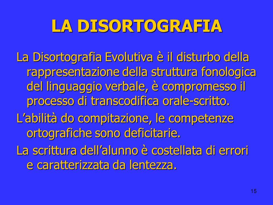 15 LA DISORTOGRAFIA La Disortografia Evolutiva è il disturbo della rappresentazione della struttura fonologica del linguaggio verbale, è compromesso i