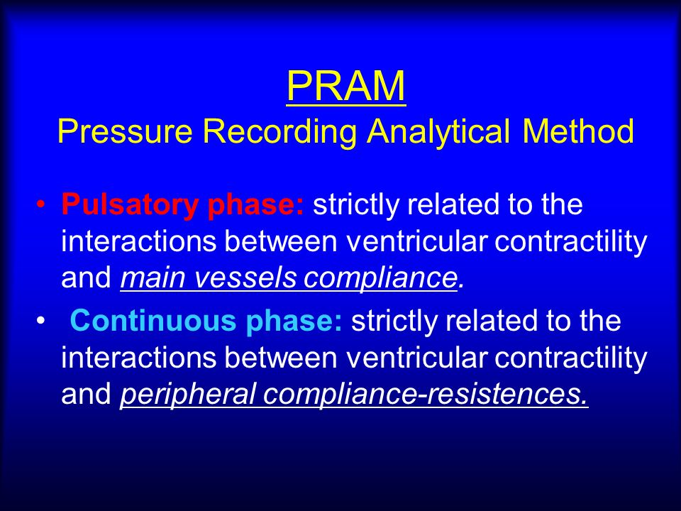 PRAM Pressure Recording Analytical Method Pulsatory phase: strictly related to the interactions between ventricular contractility and main vessels compliance.