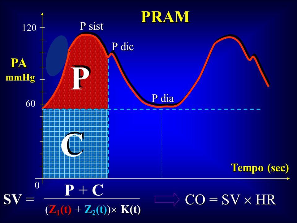 PRAM PA mmHg Tempo (sec) P sist P dic P dia P P C C 0 60 120 SV = CO = SV HR P + C Z 1 (t)Z 2 (t) K(t) (Z 1 (t) + Z 2 (t)) K(t)