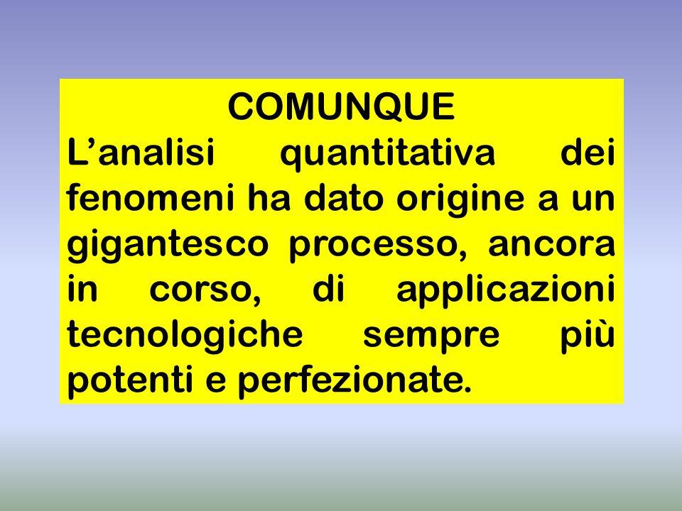 COMUNQUE Lanalisi quantitativa dei fenomeni ha dato origine a un gigantesco processo, ancora in corso, di applicazioni tecnologiche sempre più potenti