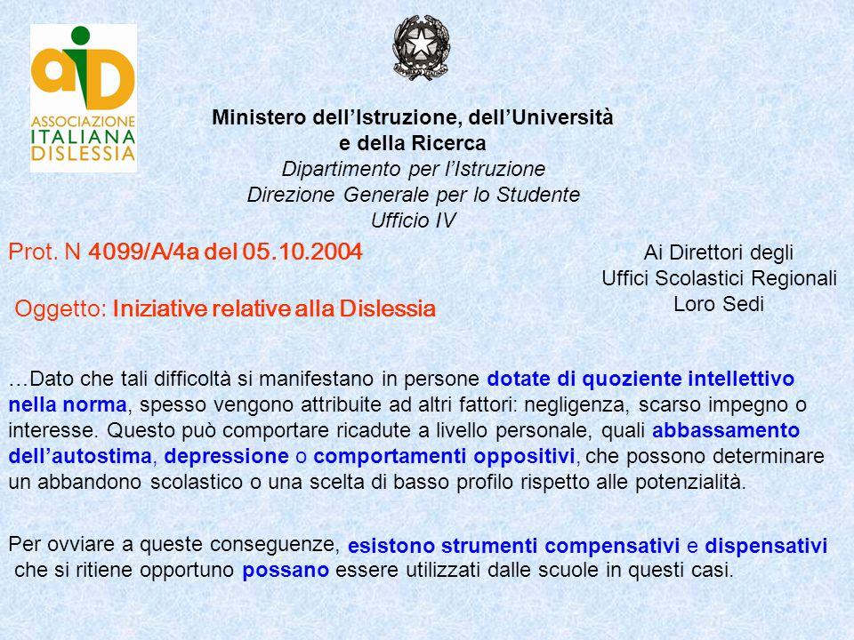 Prot. N 4099/A/4a del 05.10.2004 Oggetto: Iniziative relative alla Dislessia Ministero dellIstruzione, dellUniversità e della Ricerca Dipartimento per