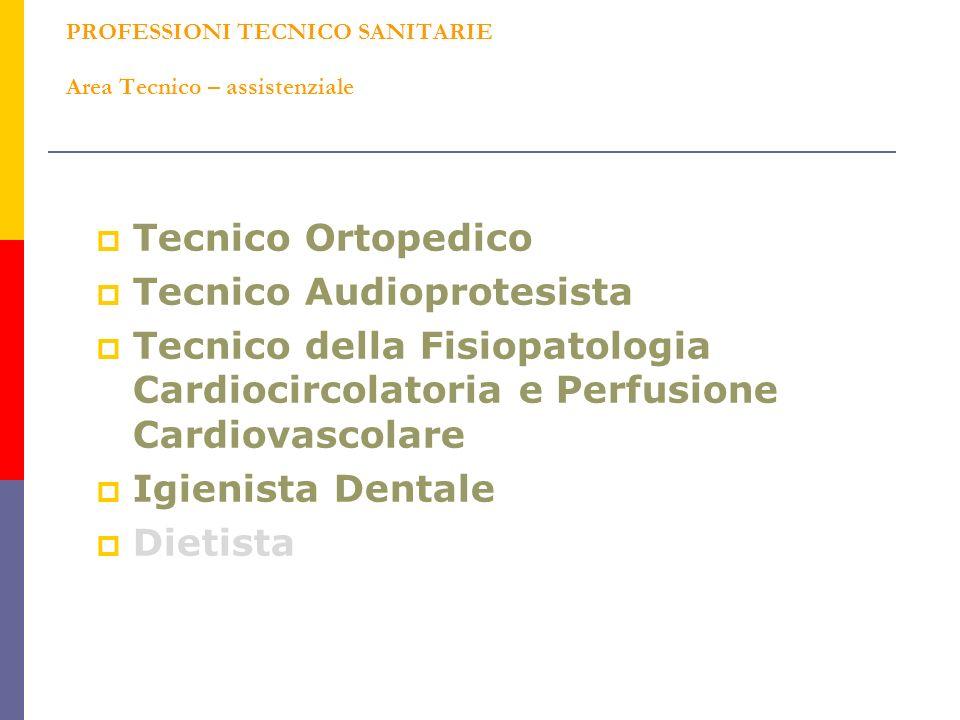 PROFESSIONI TECNICO SANITARIE Area Tecnico – assistenziale Tecnico Ortopedico Tecnico Audioprotesista Tecnico della Fisiopatologia Cardiocircolatoria e Perfusione Cardiovascolare Igienista Dentale Dietista