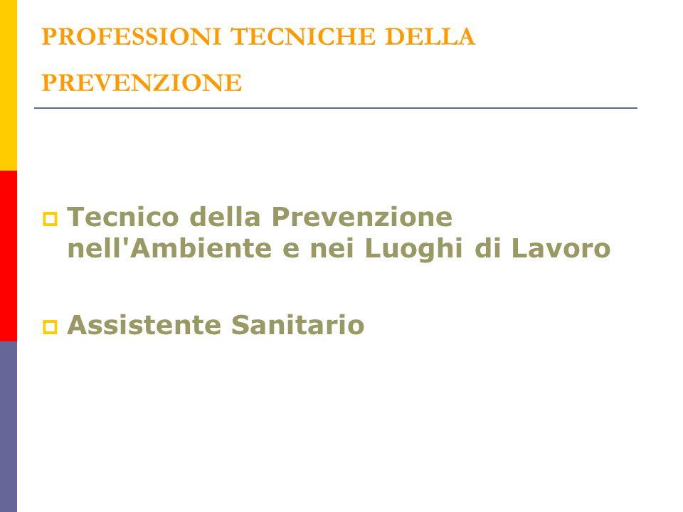 PROFESSIONI TECNICHE DELLA PREVENZIONE Tecnico della Prevenzione nell Ambiente e nei Luoghi di Lavoro Assistente Sanitario