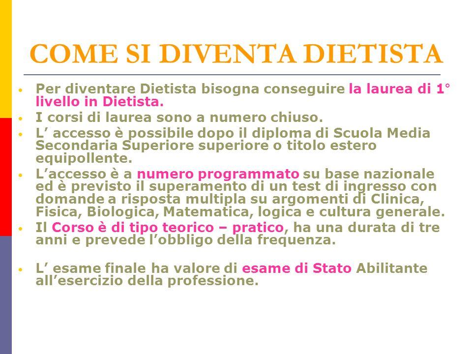 COME SI DIVENTA DIETISTA Per diventare Dietista bisogna conseguire la laurea di 1° livello in Dietista.