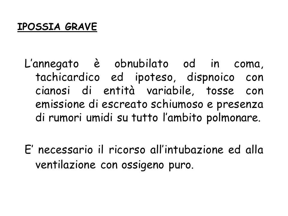 IPOSSIA GRAVE Lannegato è obnubilato od in coma, tachicardico ed ipoteso, dispnoico con cianosi di entità variabile, tosse con emissione di escreato s
