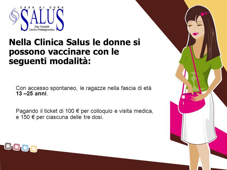 Nella Clinica Salus le donne si possono vaccinare con le seguenti modalità: Con accesso spontaneo, le ragazze nella fascia di età 13 –25 anni. Pagando