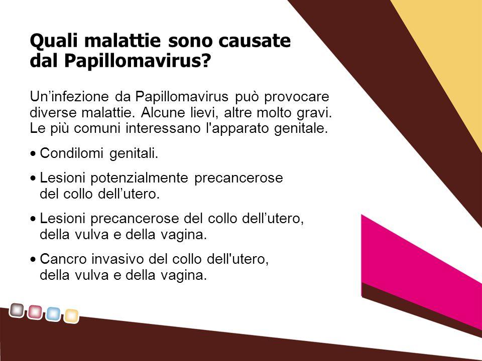 Quali malattie sono causate dal Papillomavirus? Uninfezione da Papillomavirus può provocare diverse malattie. Alcune lievi, altre molto gravi. Le più