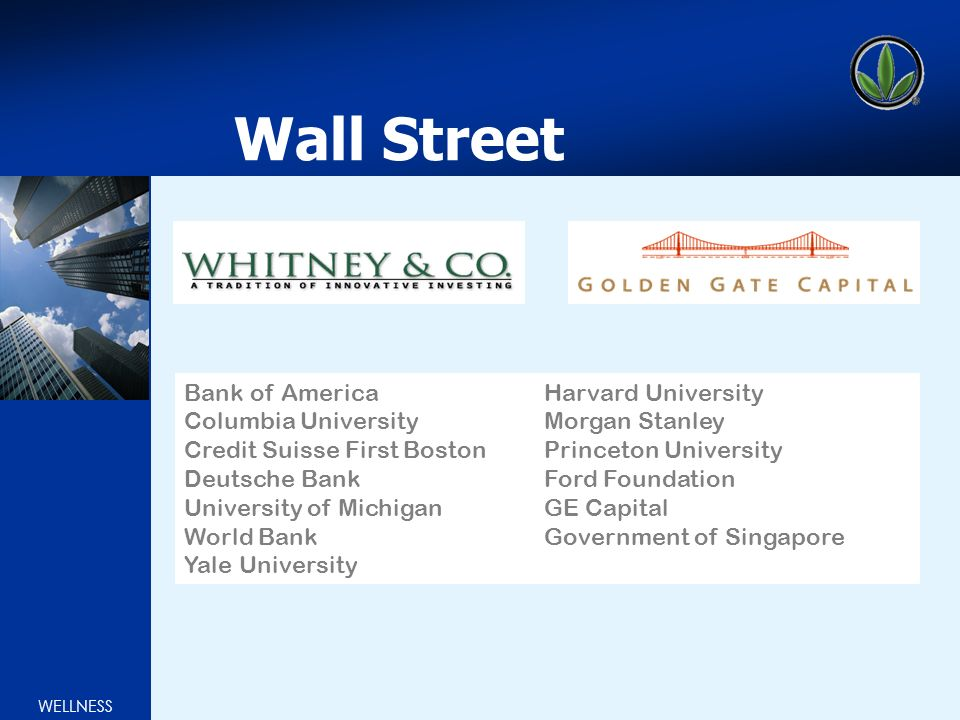 WELLNESS Wall Street Bank of America Columbia University Credit Suisse First Boston Deutsche Bank University of Michigan World Bank Yale University Harvard University Morgan Stanley Princeton University Ford Foundation GE Capital Government of Singapore