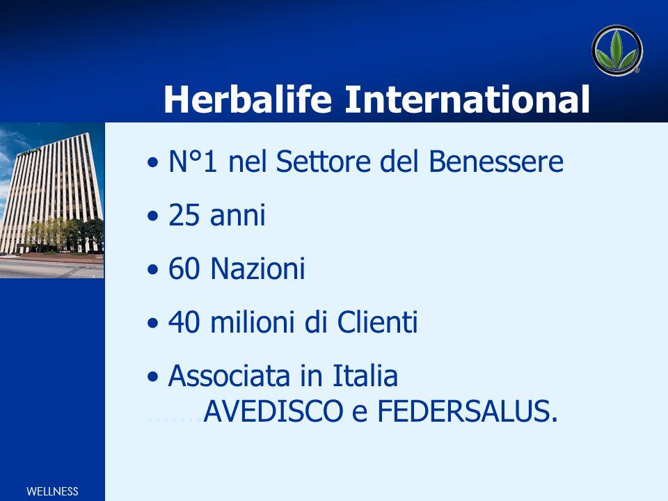 WELLNESS Herbalife International N°1 nel Settore del Benessere 25 anni 60 Nazioni 40 milioni di Clienti Associata in Italia …….AVEDISCO e FEDERSALUS.