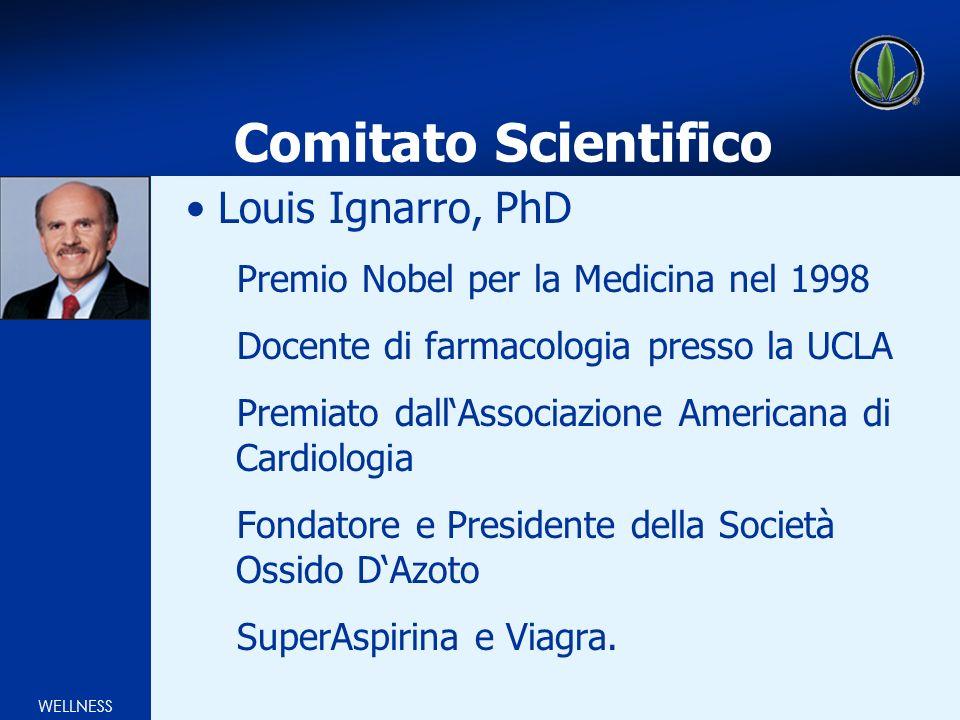 WELLNESS Comitato Scientifico Louis Ignarro, PhD Premio Nobel per la Medicina nel 1998 Docente di farmacologia presso la UCLA Premiato dallAssociazione Americana di Cardiologia Fondatore e Presidente della Società Ossido DAzoto SuperAspirina e Viagra.
