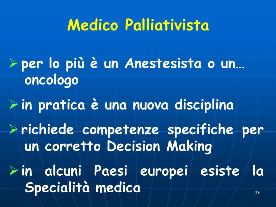 19 Medico Palliativista per lo più è un Anestesista o un… oncologo in pratica è una nuova disciplina richiede competenze specifiche per un corretto Decision Making in alcuni Paesi europei esiste la Specialità medica