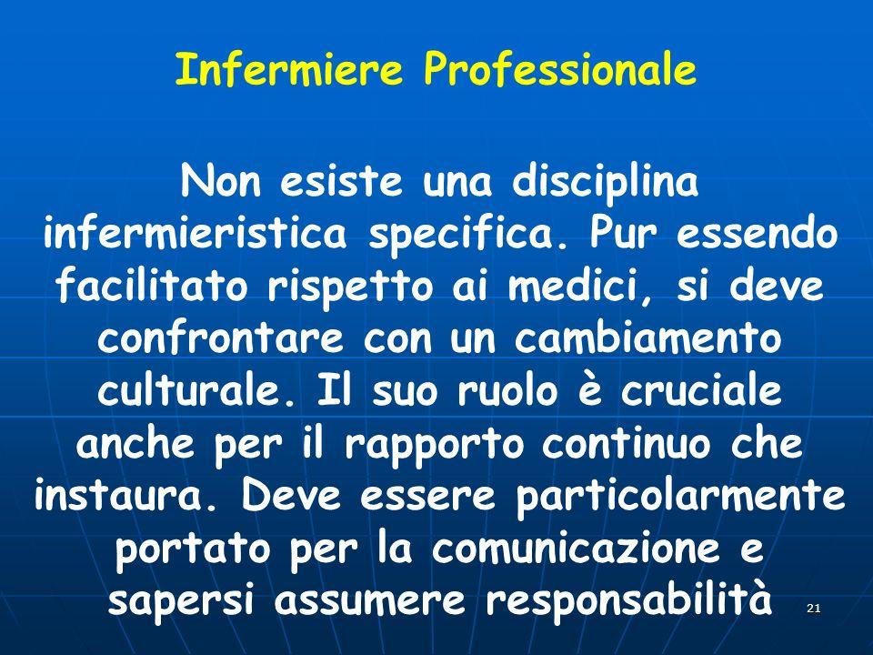 21 Infermiere Professionale Non esiste una disciplina infermieristica specifica. Pur essendo facilitato rispetto ai medici, si deve confrontare con un