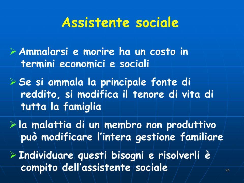 26 Assistente sociale Ammalarsi e morire ha un costo in termini economici e sociali Se si ammala la principale fonte di reddito, si modifica il tenore
