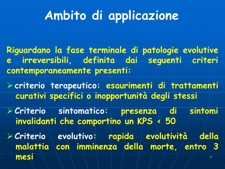 7 Ambito di applicazione Riguardano la fase terminale di patologie evolutive e irreversibili, definita dai seguenti criteri contemporaneamente present