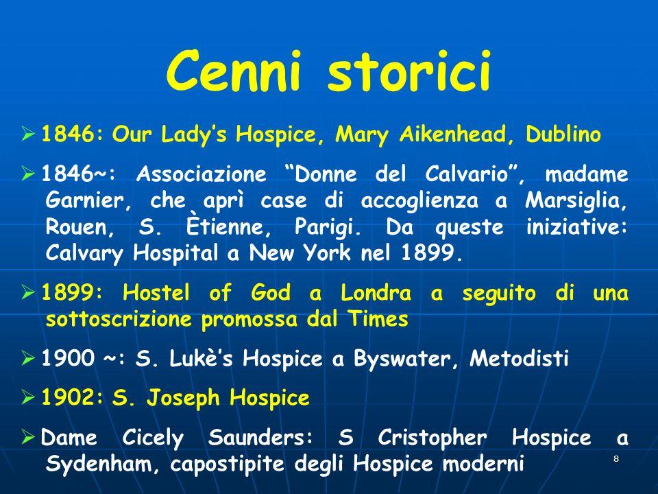 8 Cenni storici 1846: Our Ladys Hospice, Mary Aikenhead, Dublino 1846~: Associazione Donne del Calvario, madame Garnier, che aprì case di accoglienza