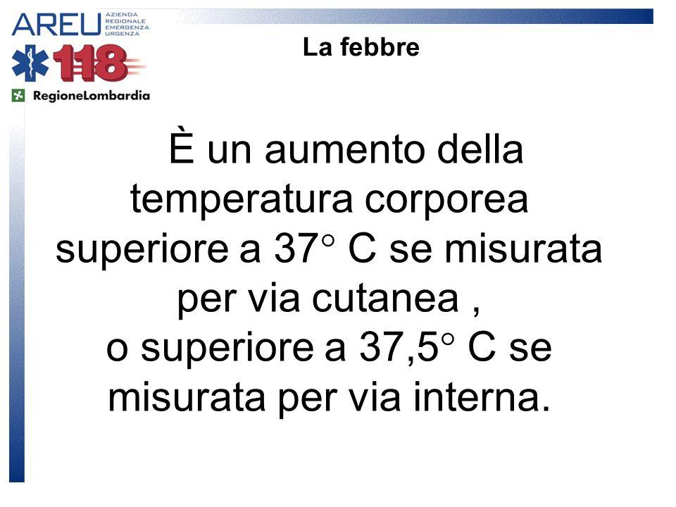 È un aumento della temperatura corporea superiore a 37° C se misurata per via cutanea, o superiore a 37,5° C se misurata per via interna. La febbre