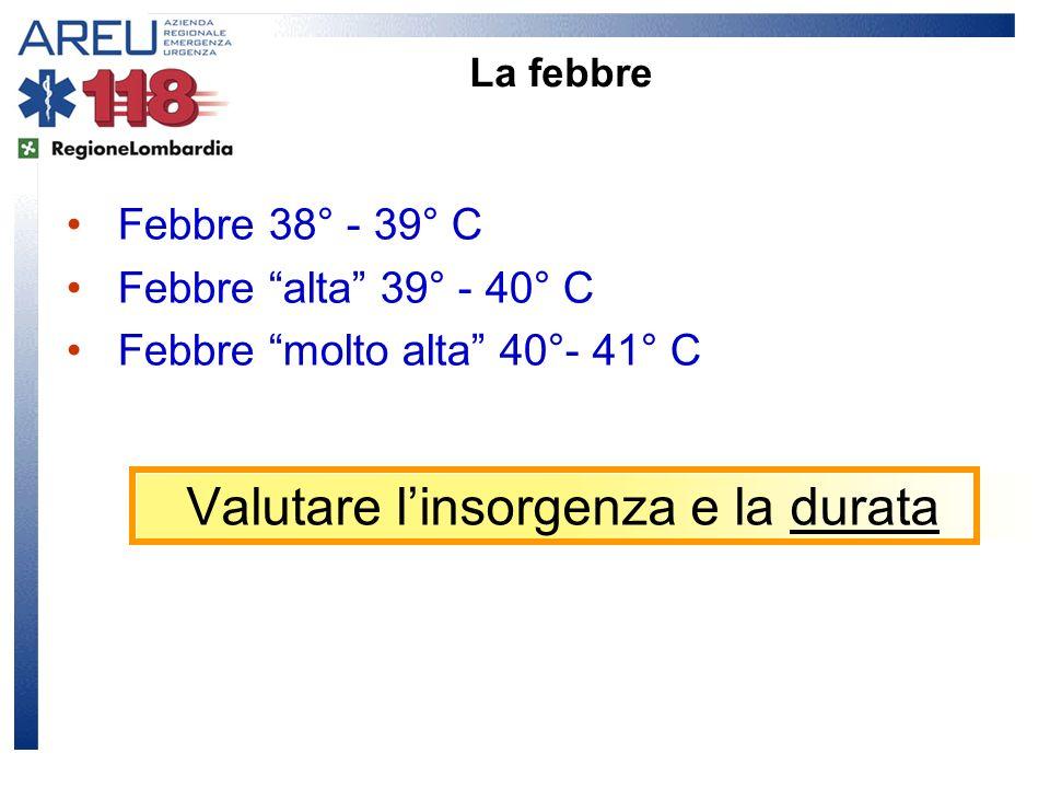 Valutare linsorgenza e la durata Febbre 38° - 39° C Febbre alta 39° - 40° C Febbre molto alta 40°- 41° C La febbre