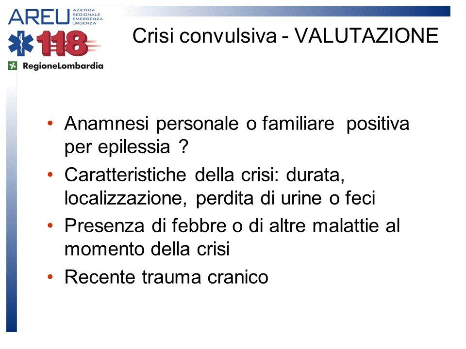 Anamnesi personale o familiare positiva per epilessia ? Caratteristiche della crisi: durata, localizzazione, perdita di urine o feci Presenza di febbr