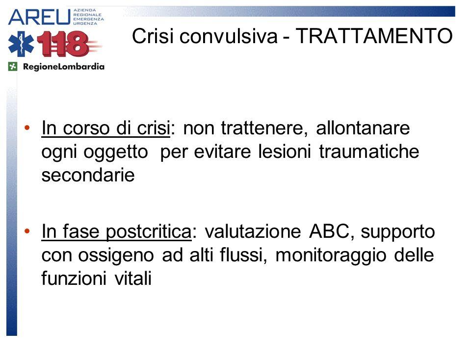 In corso di crisi: non trattenere, allontanare ogni oggetto per evitare lesioni traumatiche secondarie In fase postcritica: valutazione ABC, supporto