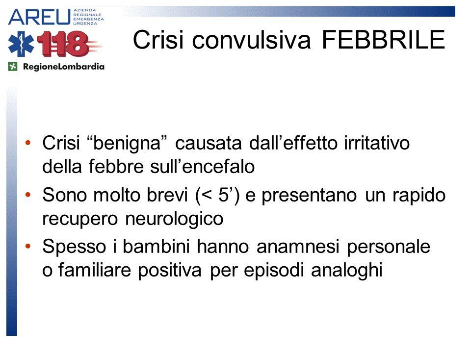 Crisi benigna causata dalleffetto irritativo della febbre sullencefalo Sono molto brevi (< 5) e presentano un rapido recupero neurologico Spesso i bam