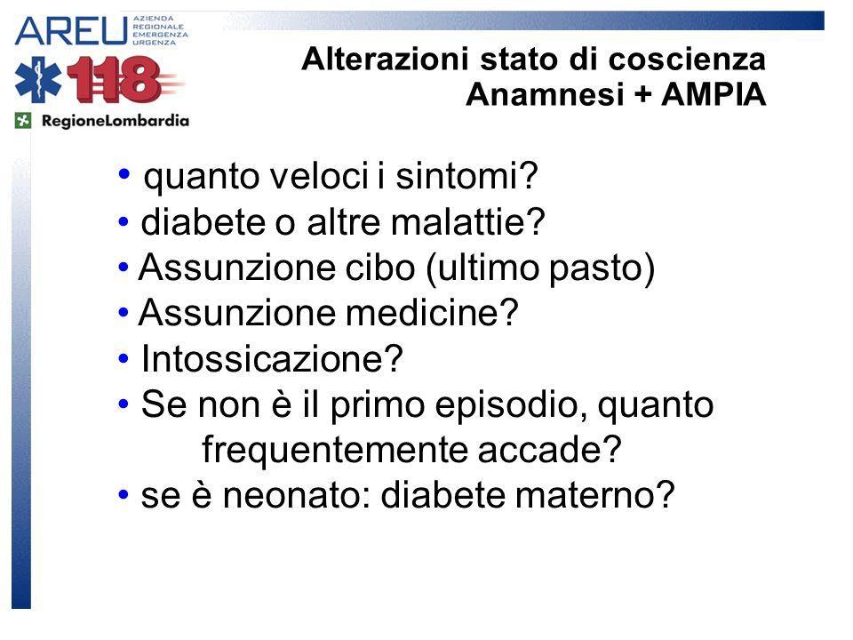quanto veloci i sintomi? diabete o altre malattie? Assunzione cibo (ultimo pasto) Assunzione medicine? Intossicazione? Se non è il primo episodio, qua