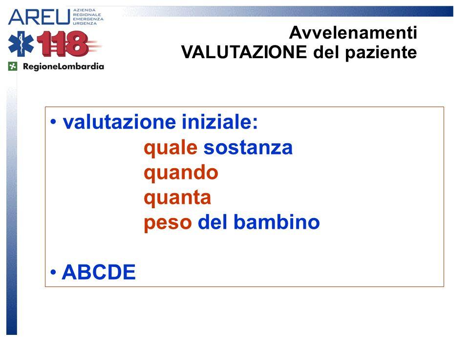 valutazione iniziale: quale sostanza quando quanta peso del bambino ABCDE Avvelenamenti VALUTAZIONE del paziente