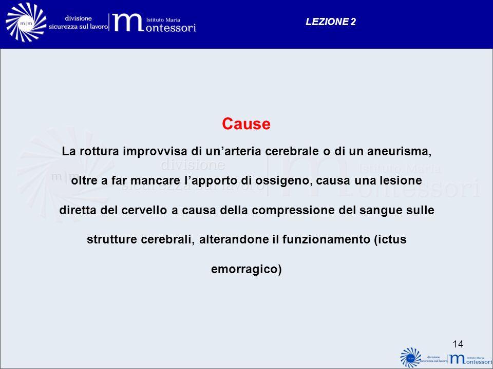 13 LEZIONE 2 CAUSE La formazione di un trombo Presenza di un embolo che determina unostruzione di un vaso cerebrale con arresto sanguigno impovviso ve