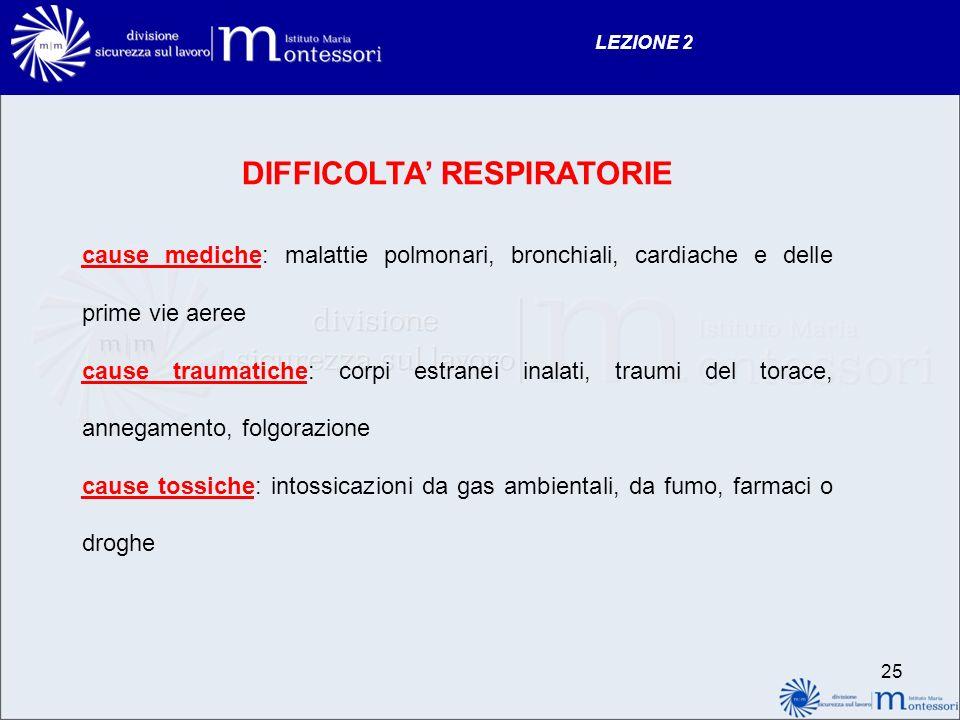 24 LEZIONE 2 INSUFFICIENZA RESPIRATORIA Linsufficienza respiratoria si ha quando il polmone non può assicurare unadeguata ossigenazione del sangue art