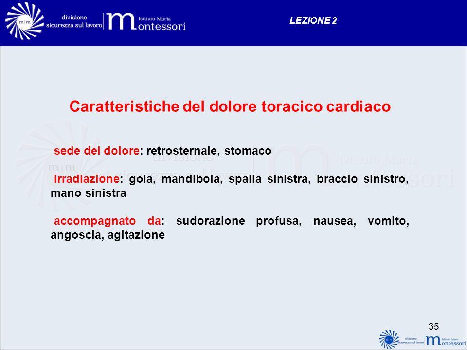 34 LEZIONE 2 IL DOLORE TORACICO CARDIACO E provocato da una riduzione dellapporto di ossigeno, che è assicurato al cuore dalle arterie coronariche. Se