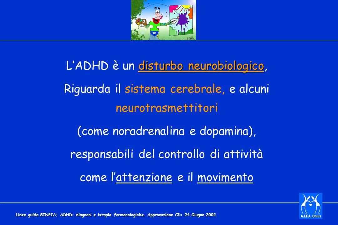 disturbo neurobiologico LADHD è un disturbo neurobiologico, Riguarda il sistema cerebrale, e alcuni neurotrasmettitori (come noradrenalina e dopamina), responsabili del controllo di attività come lattenzione e il movimento Linee guida SINPIA; ADHD: diagnosi e terapie farmacologiche.