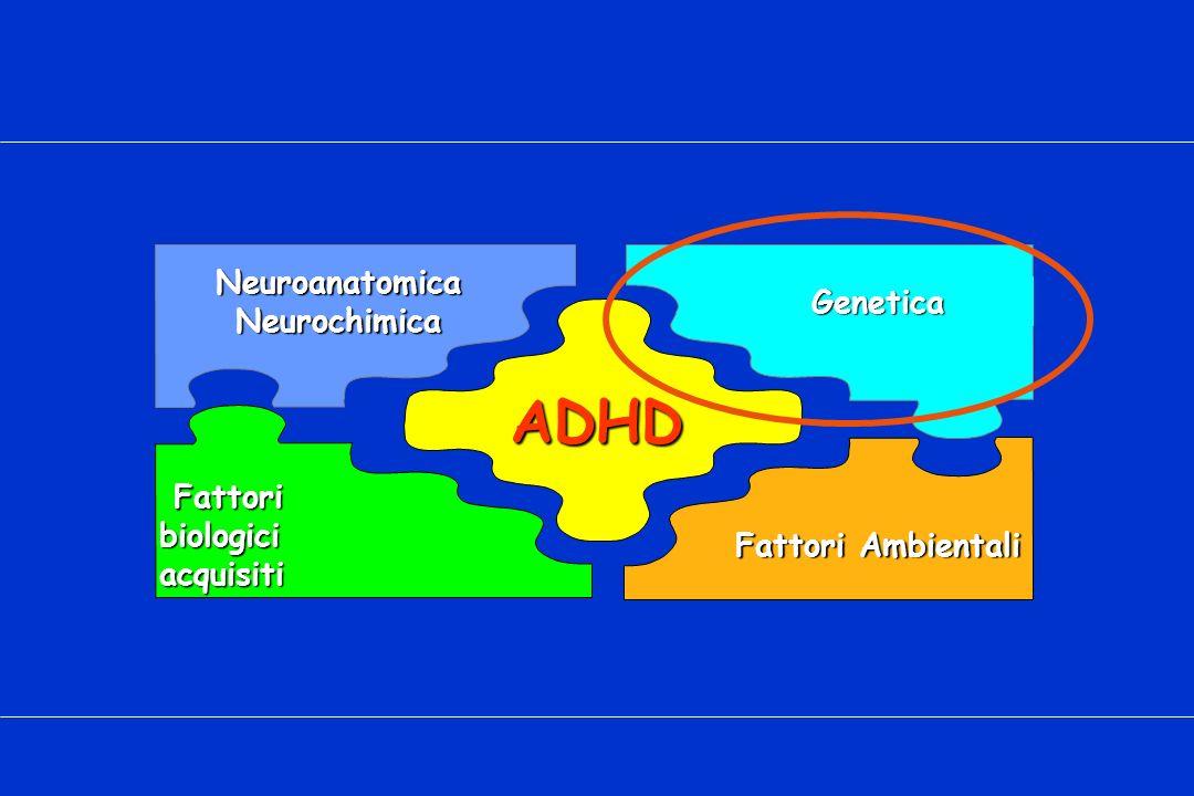 ADHD NeuroanatomicaNeurochimica Fattori biologici acquisiti Fattori biologici acquisiti Genetica Fattori Ambientali