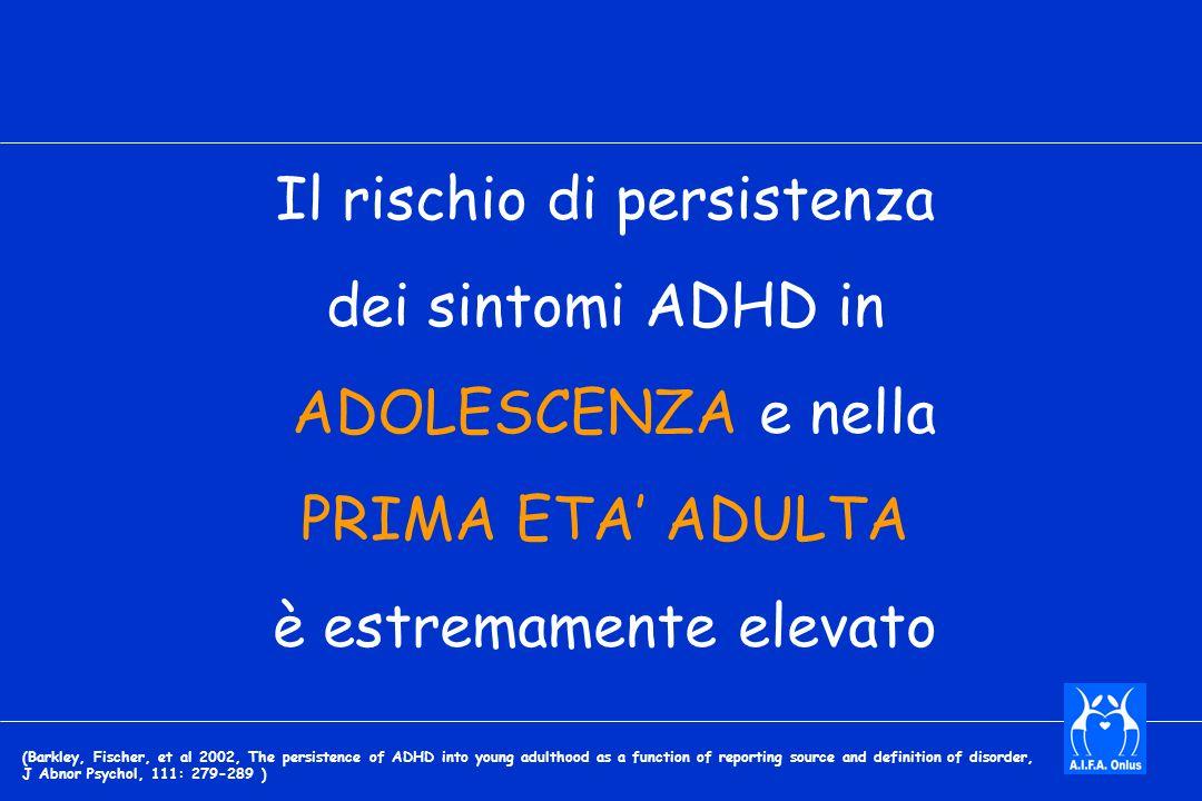 Il rischio di persistenza dei sintomi ADHD in ADOLESCENZA e nella PRIMA ETA ADULTA è estremamente elevato (Barkley, Fischer, et al 2002, The persistence of ADHD into young adulthood as a function of reporting source and definition of disorder, J Abnor Psychol, 111: 279-289 )