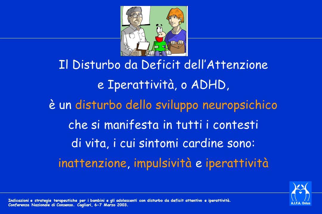 Il Disturbo da Deficit dellAttenzione e Iperattività, o ADHD, è un disturbo dello sviluppo neuropsichico che si manifesta in tutti i contesti di vita, i cui sintomi cardine sono: inattenzione, impulsività e iperattività Indicazioni e strategie terapeutiche per i bambini e gli adolescenti con disturbo da deficit attentivo e iperattività.