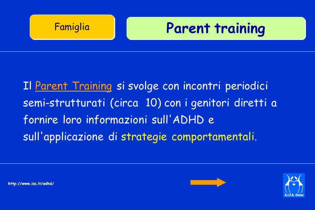 Il Parent Training si svolge con incontri periodici semi-strutturati (circa 10) con i genitori diretti a fornire loro informazioni sull ADHD e sull applicazione di strategie comportamentali.