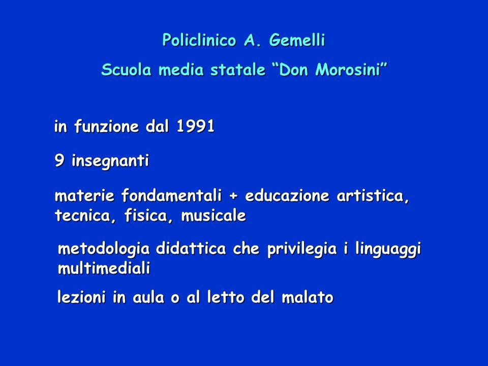 Policlinico A. Gemelli Scuola media statale Don Morosini in funzione dal 1991 9 insegnanti materie fondamentali + educazione artistica, tecnica, fisic