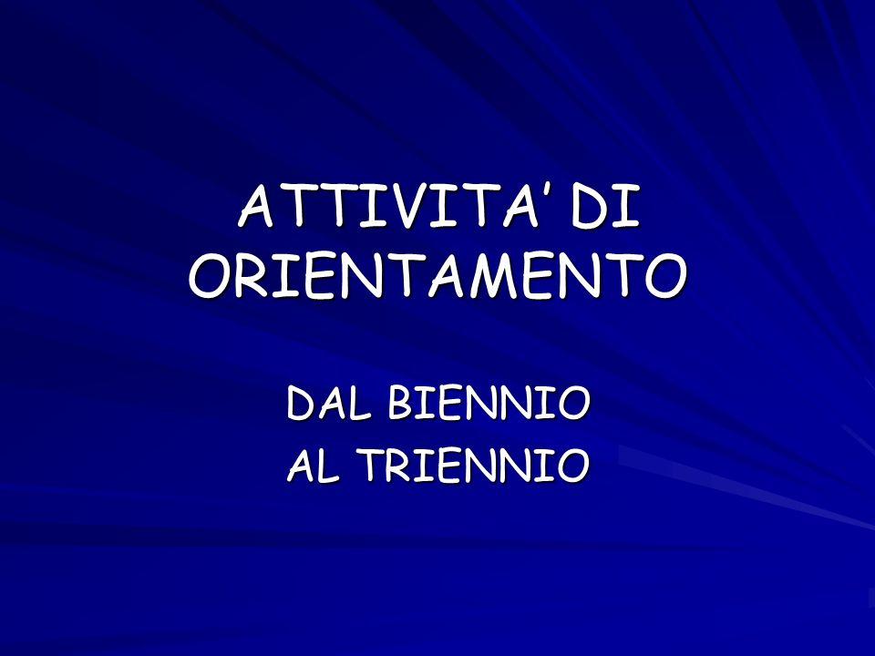 ATTIVITA DI ORIENTAMENTO DAL BIENNIO AL TRIENNIO