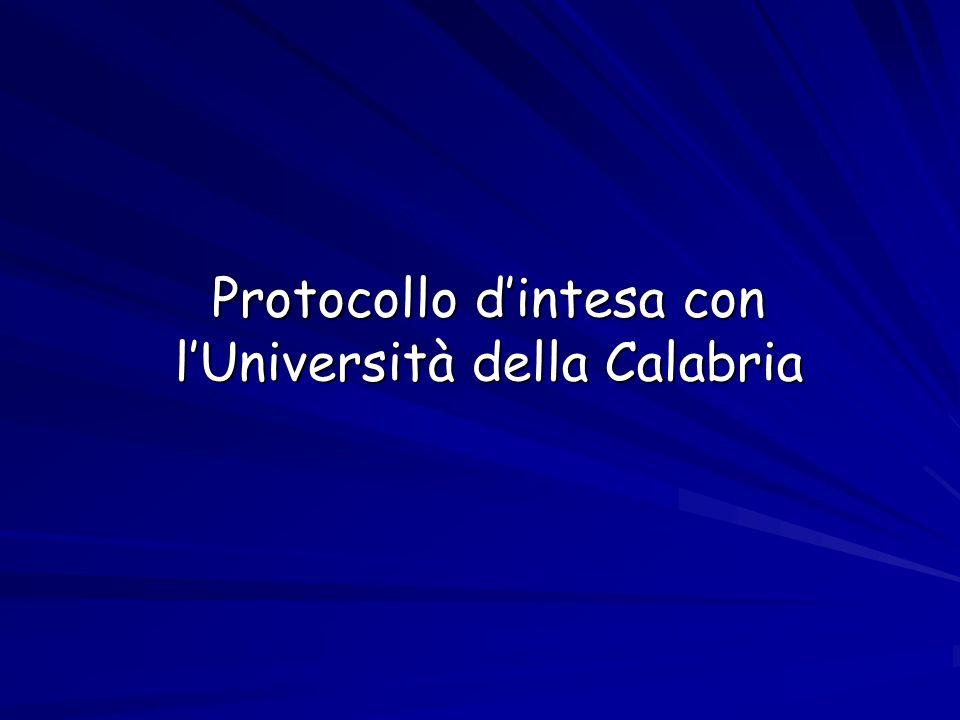 Protocollo dintesa con lUniversità della Calabria