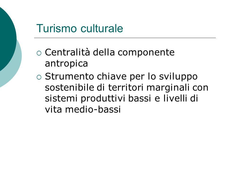Turismo culturale Centralità della componente antropica Strumento chiave per lo sviluppo sostenibile di territori marginali con sistemi produttivi bassi e livelli di vita medio-bassi
