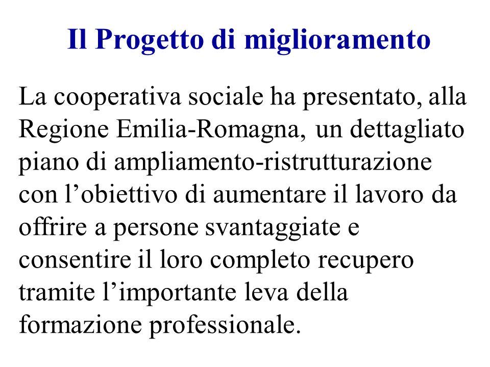 Il Progetto di miglioramento La cooperativa sociale ha presentato, alla Regione Emilia-Romagna, un dettagliato piano di ampliamento-ristrutturazione c