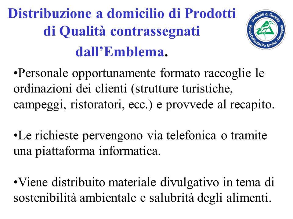 Distribuzione a domicilio di Prodotti di Qualità contrassegnati dallEmblema. Personale opportunamente formato raccoglie le ordinazioni dei clienti (st
